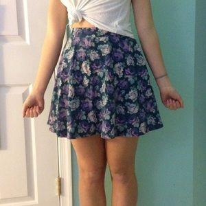 Purple flower pattern skater skirt